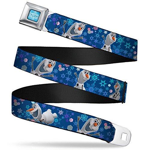 Buckle-Down Seatbelt Belt - Frozen Olaf Poses/Snowflakes Blues - 1.5