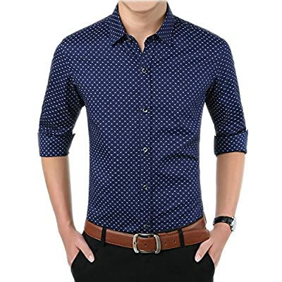 LOGEEYAR Men's 100% Cotton Long Sleeve Plaid Slim Fit Button Down Point Collar Dress Shirt