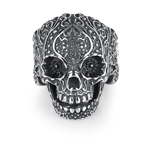 ENCOCO Men's Skull Ring Titanium Steel Skull Ring Punk Jewelry Ring for Party Halloween Dance