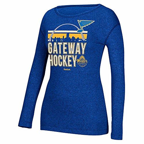 Reebok St. Louis Blues NHL Blue 2017 Winter Classic Nickname Stack Long Sleeve Crew Shirt for Women (XL)