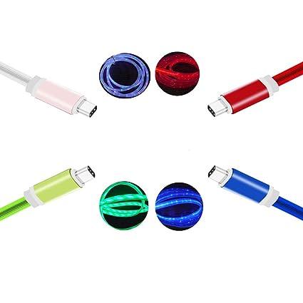 Amazon.com: Cable de carga USB tipo C con iluminación LED, 4 ...