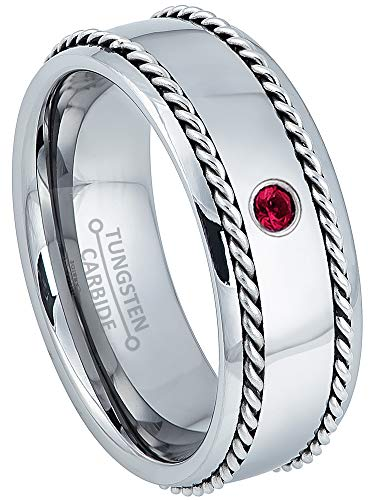 (Jewelry Avalanche 0.07ct Ruby Mens Tungsten Ring - July Birthstone Ring - 8MM Comfort Fit Polished Dome Tungsten Carbide Wedding Band with Double Stainless Steel Rope Inlay - 7)