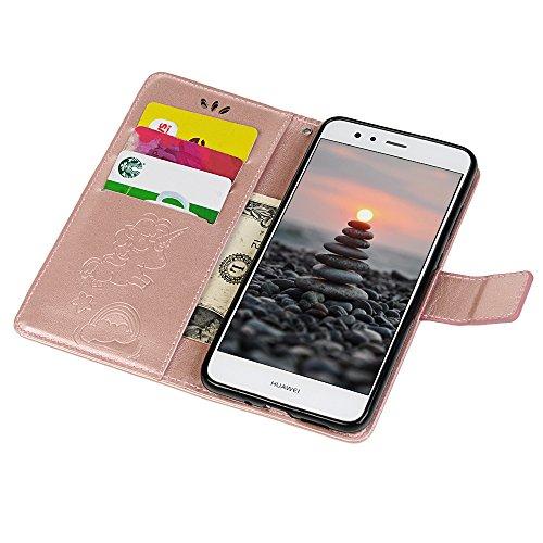 Tophung Huawei P10Lite 2017Fall, Premium Flip PU Leder Wallet Case mit Einhorn Muster Ständer Magnetverschluss Ordner Kartenhalter Geld Tasche Smart Handy Schutzhülle für Huawei P10Lite grau rose gold