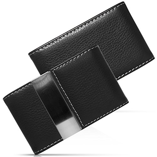 NICESTILE Business Card Holder, PU Leather Stainless Steel Name Card Case Holder with Magnetic Shut Double Sided Open (Black) by NICESTILE (Image #7)