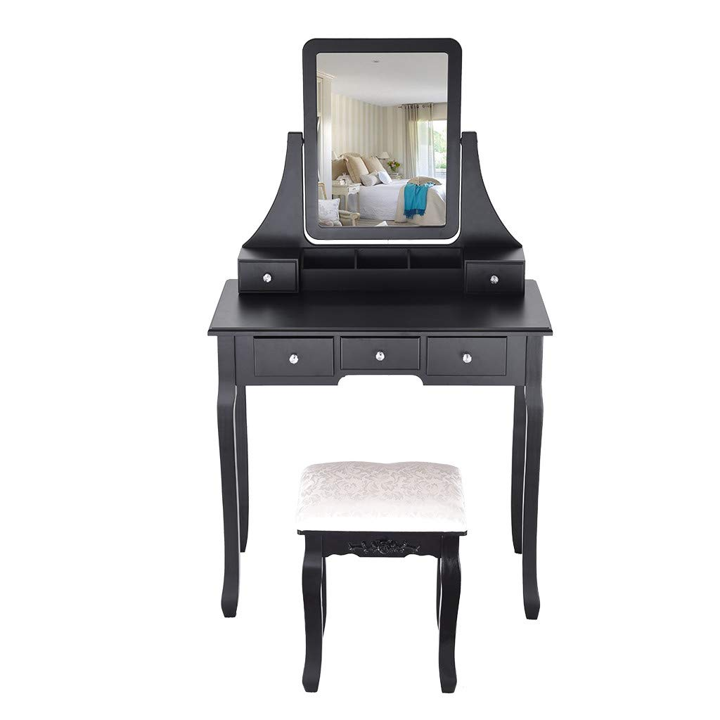Vanity Set with Mirror Cushioned Stool Dressing Table Makeup Table 5 Drawers Removable Organizers Easy Assembly Black (Black) by IOTdou