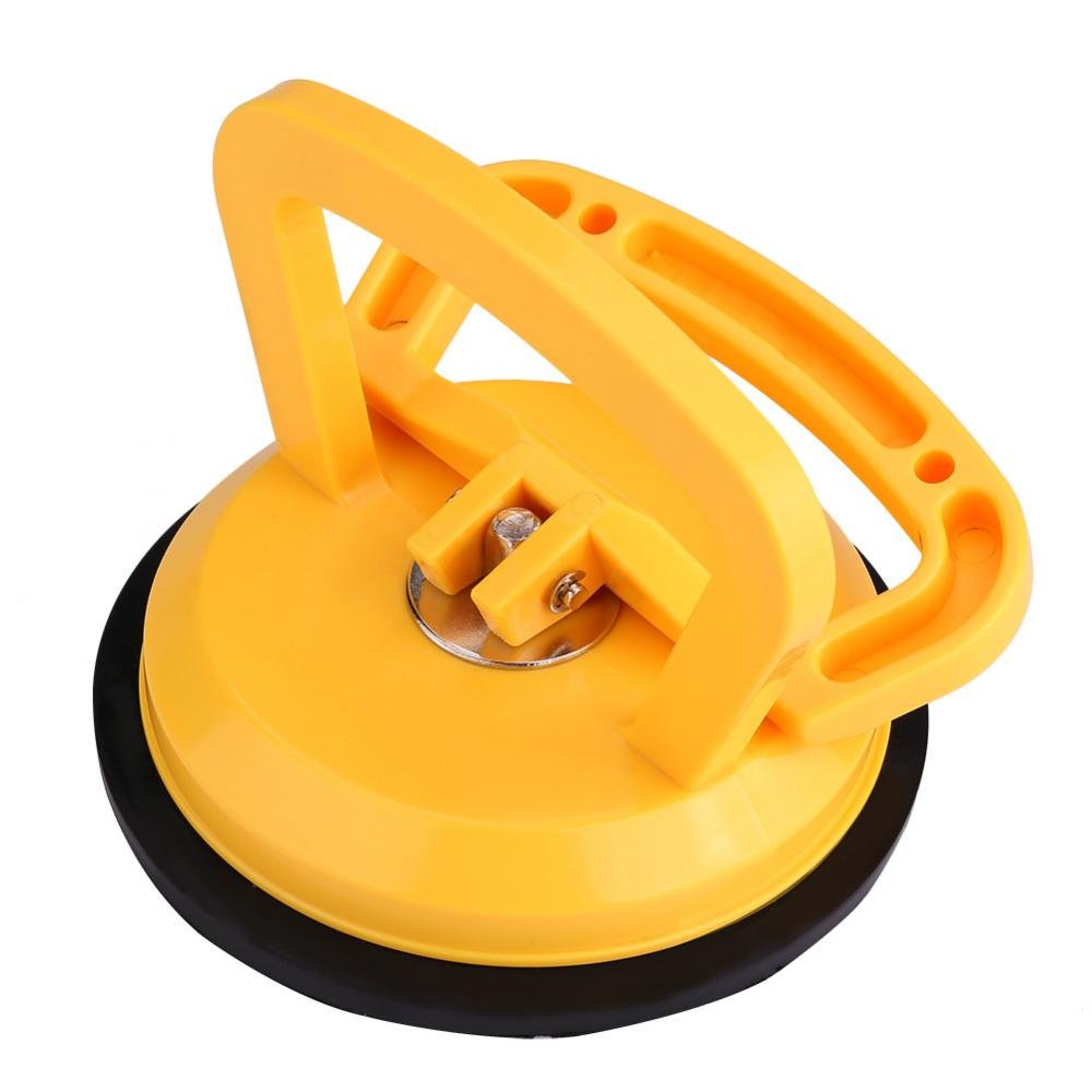 Garosa Suction Cup for Glass, Vacuum Suction Cup Glass Lifter Tile Lifter Puller Gripper Thicked ABS Plastic Single Plate Suction Cup Dent Repair Puller Pad Yellow for Electrostatic Floor Tile