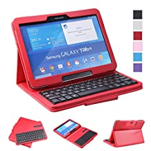 NEWSTYLE Samsung Galaxy Tab 4 10.1 Keyboard Case - Premium Muti-angle Stand Folio Cover Case with Slim Magnetically Detachable Bluetooth Keyboard For 10.1 inch Galaxy Tab 4 SM-T530 SM-T531 SM-T535 (Red)