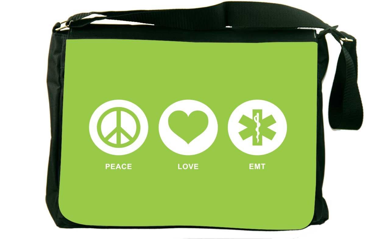 Rikki Knight Peace Love EMT Lime Green Color Messenger Bag School Bag