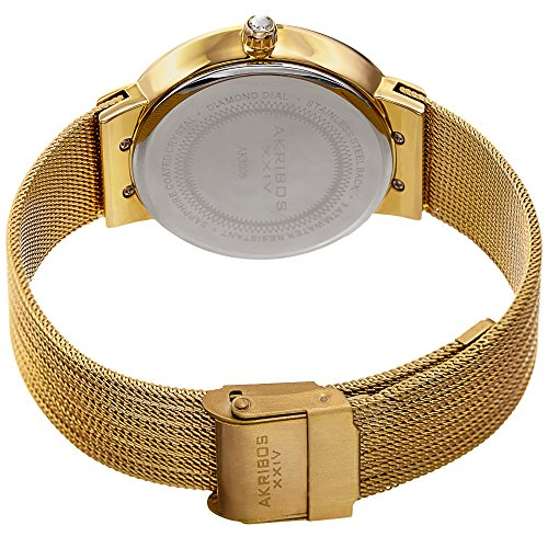 Akribos XXIV Women's Quartz Diamond & Mother-of-Pearl Gold-Tone Fine Mesh Bracelet Watch - AK1009YG by Akribos XXIV (Image #4)