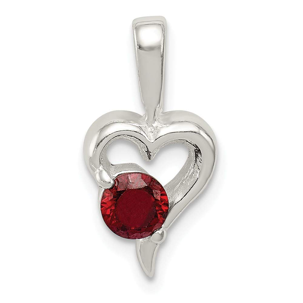 Solid 925 Sterling Silver with Red CZ Cubic Zirconia Heart Pendant 9mm x 18mm