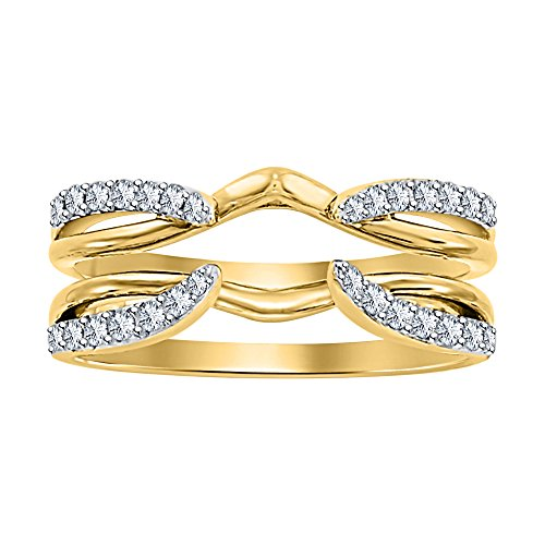 Dabangjewels 1/4 ct Simulated Diamond Enhancer Solitaire Engagement Ring 14k Yellow Gold Plated Guard Wrap Jacket by Dabangjewels