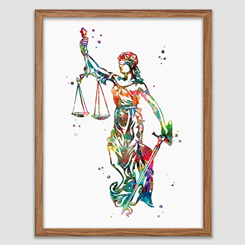 Lady Justice Watercolor Poster Law Student Art Gavel Print Lawyer Office Decor Scales of Justice Wall Art Judge Law Wall Hanging Lawyer - Justice Lady Art