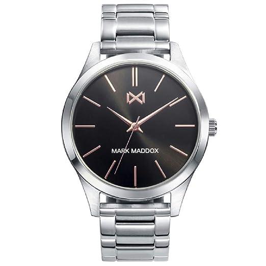 Mark Maddox HM7120-57 Reloj Hombre Tamaño 42 mm Cuarzo Acero Brazalete: Amazon.es: Relojes