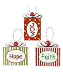 Blossom Bucket Ornaments Hope/Joy/Faith Packages Christmas Decor (Set of 3), 4'' High