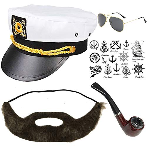 Yacht Captain & Sailor Costume Set - Hat,Corn Cob Pipe,Aviator Sunglasses,Vintage Anchor Temporary Tattoo (OneSize, C2-1) for $<!--$14.99-->