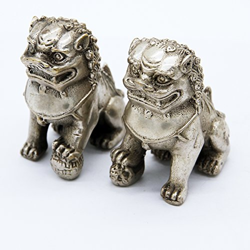 EASTCODE Chinese Foo Dog Lion Fu Tibet Silver Statue Pair Figurines Feng Shui ()