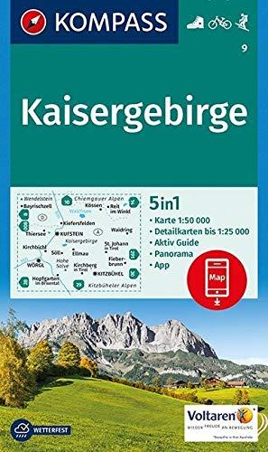 Kaisergebirge: 5in1 Wanderkarte 1:50000 mit Panorama, Aktiv Guide und Detailkarten inklusive Karte zur offline Verwendung in der KOMPASS-App. Fahrradfahren. Skitouren. (KOMPASS-Wanderkarten, Band 9)