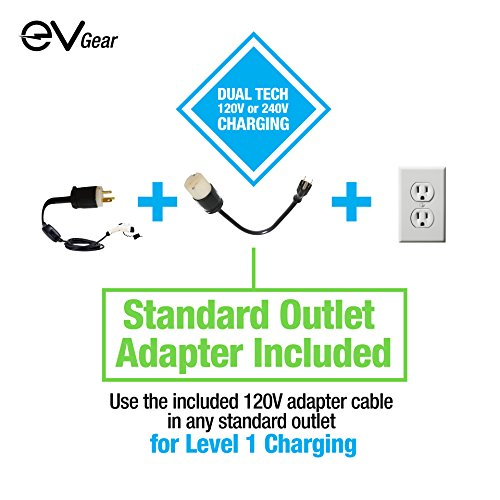 Level 2 EV Charger by EV Gear | 30 ft Portable Plug-In Charger, 110v - 240v | Includes Level 1 Adapter | Works with all Electric & Hybrid Cars such as Chevy Volt/Bolt, Nissan Leaf, Prius Prime, Tesla by EV Gear (Image #4)