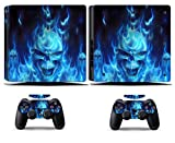 Cosines PS4 Slim Stickers Vinyl Decal Protective Console Skins Cover for Sony Playstation 4 Slim and 2 Controllers Blue Fire Ghost Skull