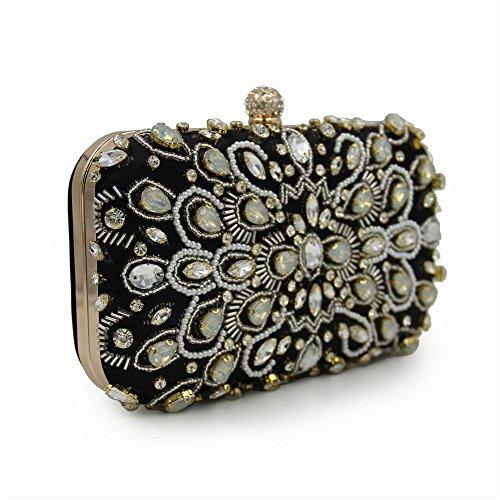 Clutch Clutch Rabbit Bag Color Beige Black Wedding Dress Bag Evening Evening Women Bag Bridal Lovely Rhinestone xdPFXII