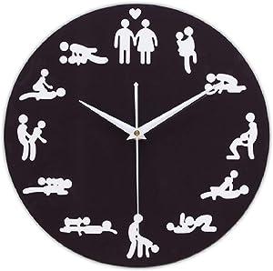 QIroseonly Sexual Fun Sex Posture Wall Clock Free Combination of Living Room Art Wall Clock (Black Sexual posture2)