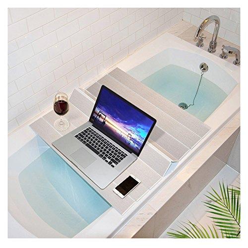 Mia home Folding Bathtub Tray, Good for Keeping Water Hot, Foldable Bath Tub Caddy Tray, Ivory (30x29 inch)