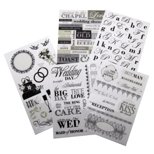 (me & my BIG ideas Glitter Sticker Flip Value Pack, Black and White Wedding)