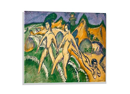 kunst für alle Glass Picture: Ernst-Ludwig Kirchner Woman Going into The sea, Wall Picture, Brilliant Art Print on Real Glass, 27.6x19.7 inch / 70x50 cm