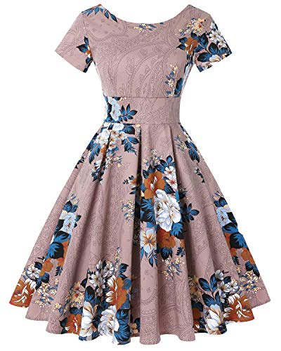 (Women's Retro Vintage Style Short Sleeve Cocktail Party Swing Dresses (Floral Khaki,Size L) )