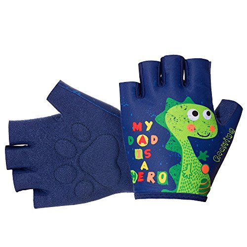 Roaming Kids Gloves for Age3-10, Great for Outdoor Sports, Cycling, Riding, Motocycling,Running, Climbing, Scooter, Monkey bar etc. (7-8Years, Dinosaurs) ()