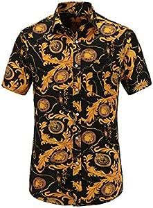 LFNANYI Para Hombre Flor Casual Flamencos Estampado Camisa Abajo Delgado de Manga Corta Camisa Hawaiana de Algodón Playa Ropa de Hombre: Amazon.es: Deportes y aire libre