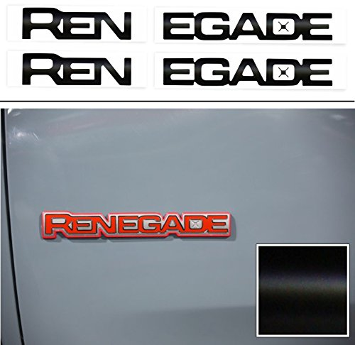Reflective Concepts RENEGADE Emblem Inlay Decal Stickers for 2015-2019 Jeep Renegade - (Color: Flat Black)