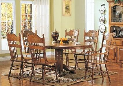 Amazoncom 7pc Dining Table Chairs Set Country Oak Nostalgia