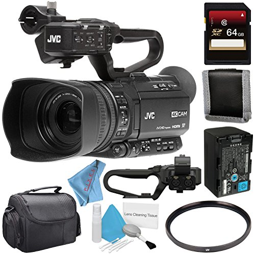 (JVC GY-HM250SP UHD 4K Streaming Camcorder with HD Sports Overlays + 64GB SDXC Card + 62mm UV Filter + Memory Card Wallet + Carrying Case + Deluxe Cleaning Kit + Fibercloth Bundle)