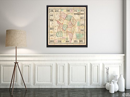 1857 Map Vermont|Chittenden|Winooski of Chittenden County, Vermont Shows householders' Names. Re|Historic Antique Vintage Reprint|Ready to Frame