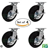 10'' x 3'' Swivel Plate Caster with Brakes - Flat Free - No Flat Pneumatic Wheel, 1,120 lb Capacity Set of 4 - CasterHQ Brand