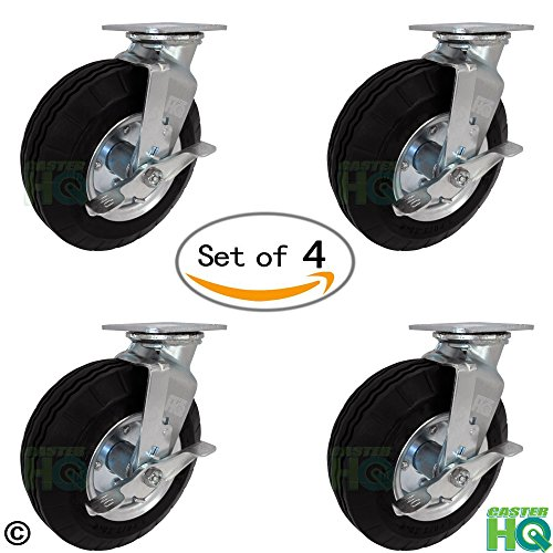 10'' x 3'' Swivel Plate Caster with Brakes - Flat Free - No Flat Pneumatic Wheel, 1,120 lb Capacity Set of 4 - CasterHQ Brand by CasterHQ