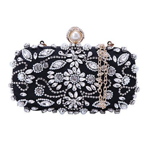 Bag Party Clutch Beige Glitter JAGENIE Women Evening Shoulder Purse Prom Handbag Bags Black Wedding XSxPqaw4Tx