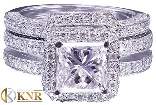(14K white gold princess cut moissanite and round cut natural diamond engagement ring and band halo bridal wedding set propose 2.50ct)