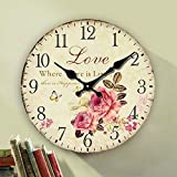 Romantic Roses Clock, 12'' Eruner Country Floral Wall Clock *Love* Wooden Art Decor Non-Ticking Home Decoration(C-62)