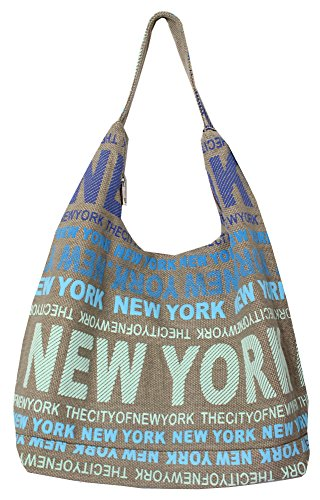 Robin Ruth New York City Cotton Fabric Hobo Shoulder Bag Blue