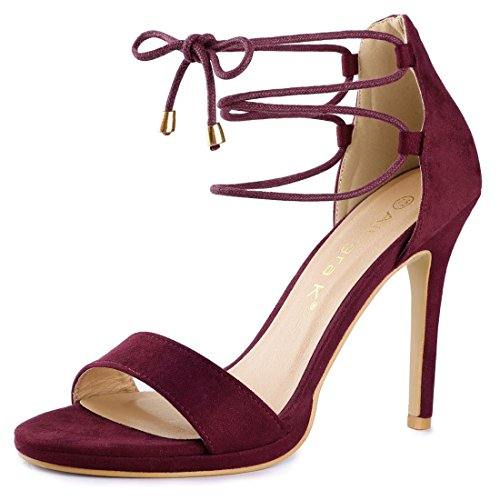 Burgundy Shoes Womens (Allegra K Women's Stiletto Lace up Burgundy Heels - 10 M US)
