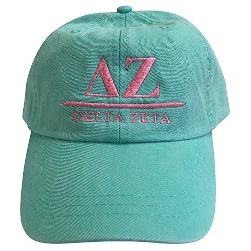 delta-zeta-b-sea-foam-hat-with-coral-thread-baseball-hat