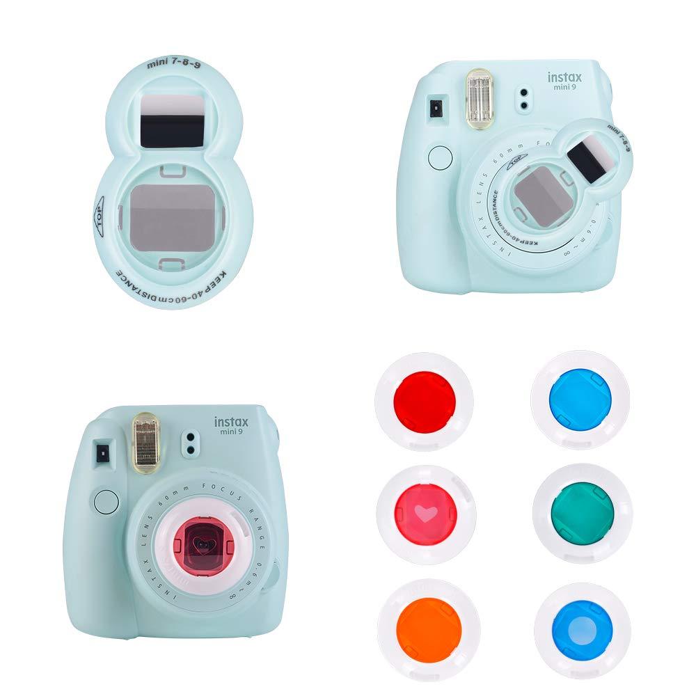Crane Goocor 15 in 1 Instax Mini 9 Camera Accessories Set for Fujifilm Instax Mini 9// Mini 8// Mini 8 ETC Camera,Includes Mini 9 Case,Albums,Rainbow Shoulder Strap,Selfie Lens