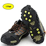 KingBig Ice Climbing Crampons, Winter Sports Equipment Anti-Slip Ice Traction Cleat Shoe Cover for Winter Outdoor Sport Mountaineering Hiking Walking in Ice- 1 Pair (10 Teeth, L)