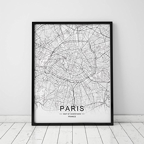 Paris City Downtown Map Wall Art Paris Street Map Print Paris Map Decor City Road Art Black and White City Map Office Wall Hanging 8x10 inch No Frame