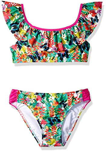 Jessica Simpson Big Girls' Two-Piece Cap Sleeve Bikini Swimsuit Set, Tropical Floral, 10