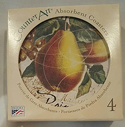 Set of 4 Pottery Pear Absorbent Coasters.