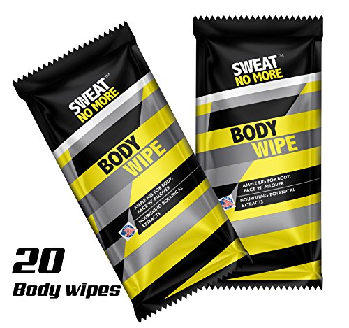 Sweat No More Extra Large 10 x 9 Body Wipes for Outdoor Activities Cleaning and Deodorizing, Remover Sweat, Dirt and Body Odor, Individually Wrapped - Pack of 20
