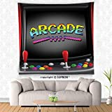 VROSELV custom tapestry Video Games Wall Hanging Tapestry Arcade Machine Retro Gaming Fun Joystick Buttons Vintage 80s 90s Electronic Bedroom Living Room Dorm Decor Multicolor